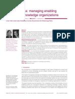 Beyond the Ba Managing Enabling in Knowledge Organizations