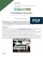Pengertian, Tujuan Dan Strategi Pembelajaran CTL (Contextual Teaching and Learning) Pendidikan Ekonomi