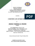 Certificates Div Presscon2016