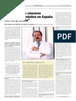 El 12% de los cánceres de nuevo diagnóstico en España son de próstata. Dr Sánchez de La Muela- El País 31 10 2016