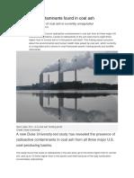 Radioactive Contaminants Found in Coal Ash