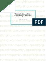 Tipologia de Análise e Classificação de Erros