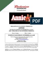 ANNIE PressRelease London