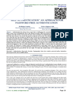 """SELF AUTHENTICATION"""" AN APPROACH FOR PASSWORD FREE AUTHENTICATION"""