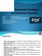 CHE 317 - Computer Packages for Chemical Engineers Lecture 1