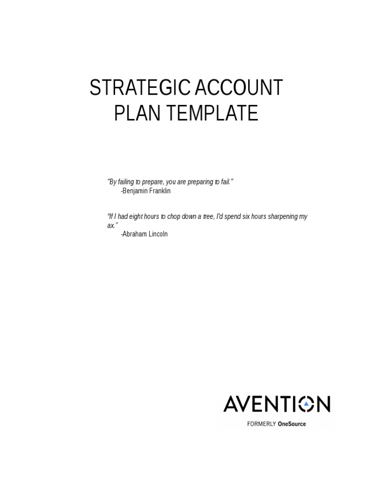 AventionStrategicAccountPlanTemplatedocx Goal – Account Plan Templates