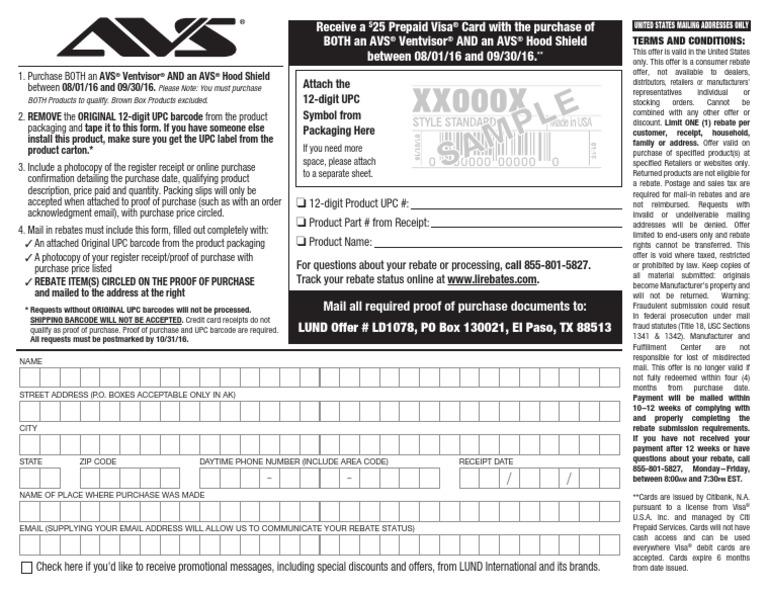 AVS Rebate Form   Rebate (Marketing)   Mail
