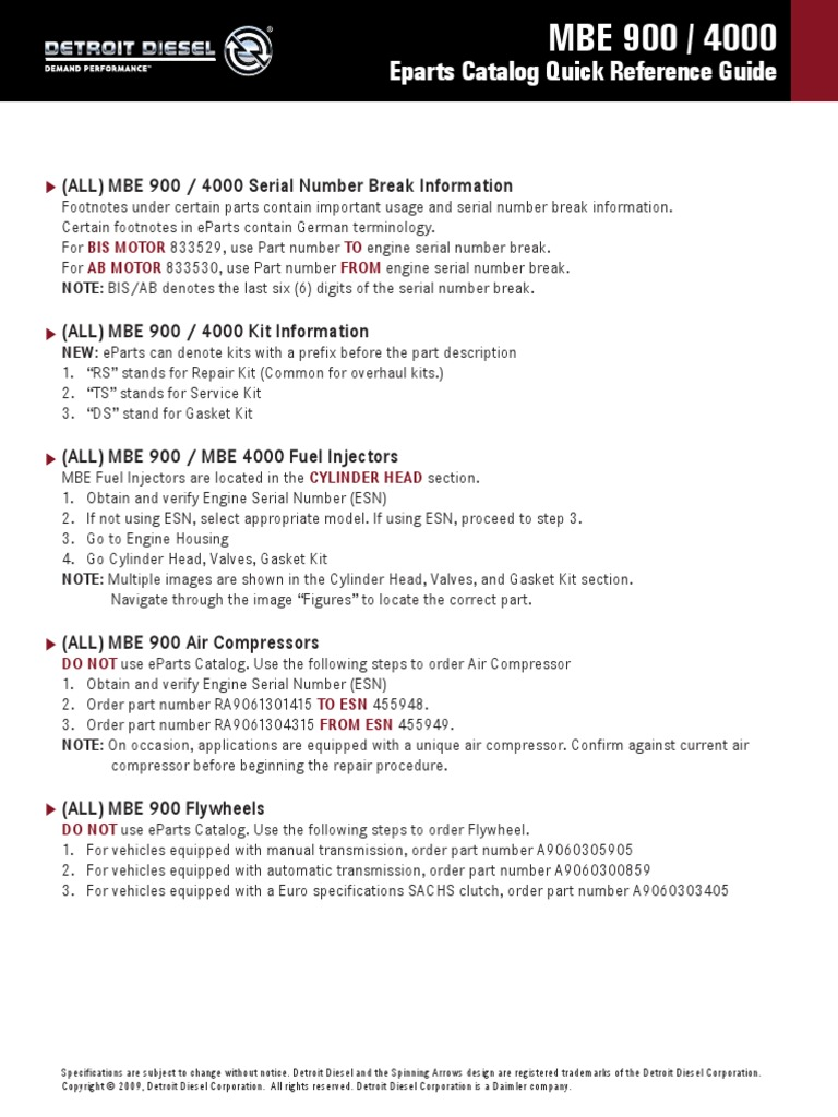 EParts MBE 900 4000 Reference Card | Turbocharger | Cylinder