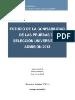 Estudio Confiabilidad Psu Admision 2013