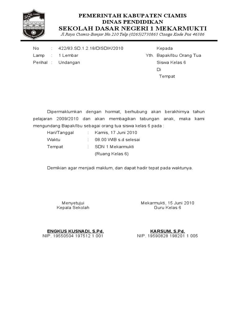 surat resmi perpisahan sekolah sd rasmi l