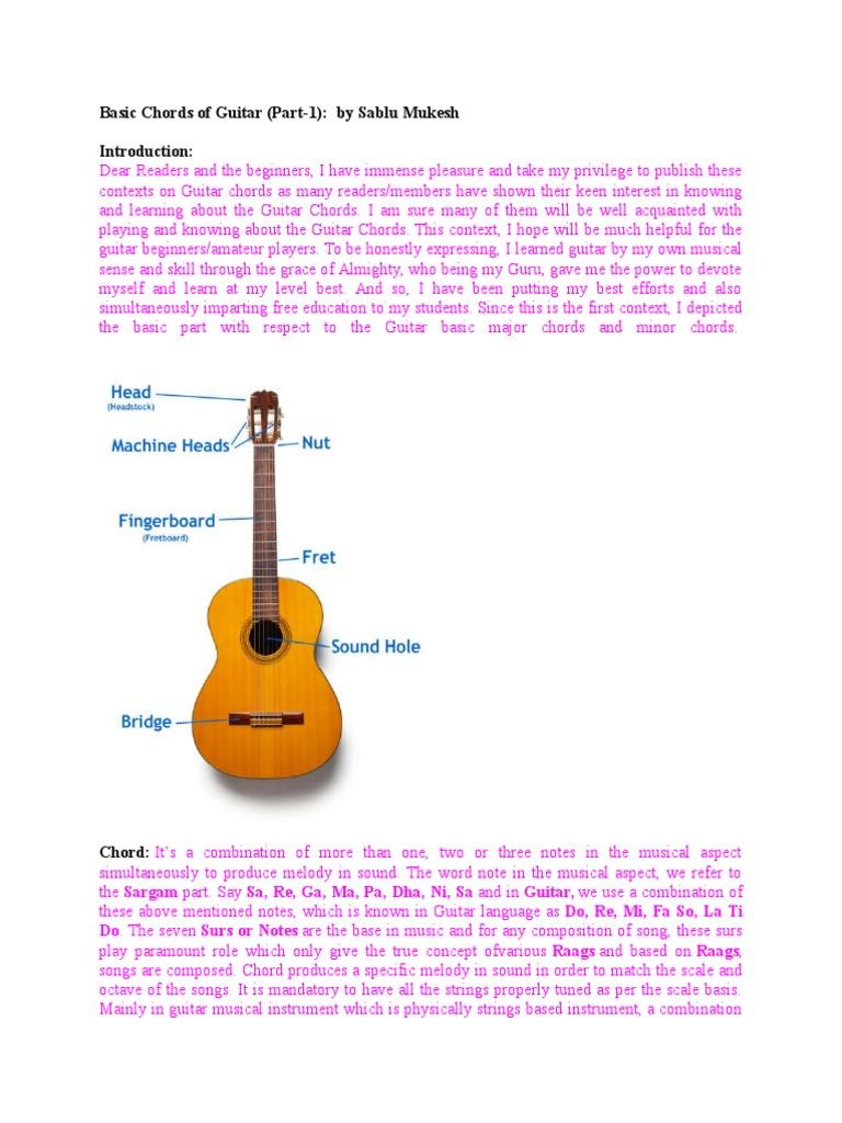 Basic Chords Of Guitar Guitars String Instruments