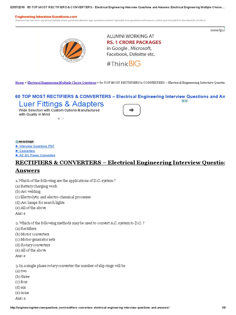 60 TOP MOST RECTIFIERS U0026 CONVERTERS   Electrical Engineering Interview  Questions And Answers Electrical Engineering Multiple Choice Questions |  Rectifier ...