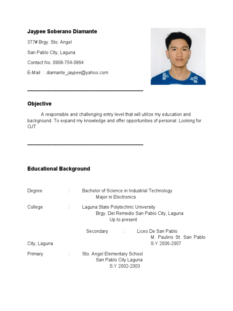 RESUME FOR OJT (im looking for OJT company, im electronics student)