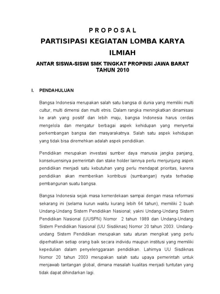 Proposal Lomba Karya Ilmiyah