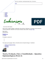 Teoria, Evolução, Fato e Cientificidade – Questões Epistemológicas (Parte I) - Evolucionismo