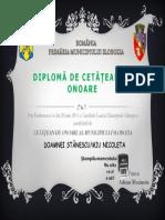 Diplomă de Cetăţean de Onoare