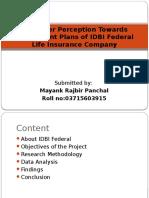 Customer Perception Toards Endoment Plans of IDBI Federalbb