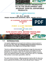 The Role of Nig. Export Promotion Council in the Promotion of Non-oil Exportable Products. Ppt