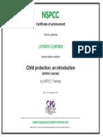 Lorraine Liyanage NSPCC Training Certificate
