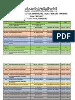 Final Exam Schedule CRESCENT for September 2016