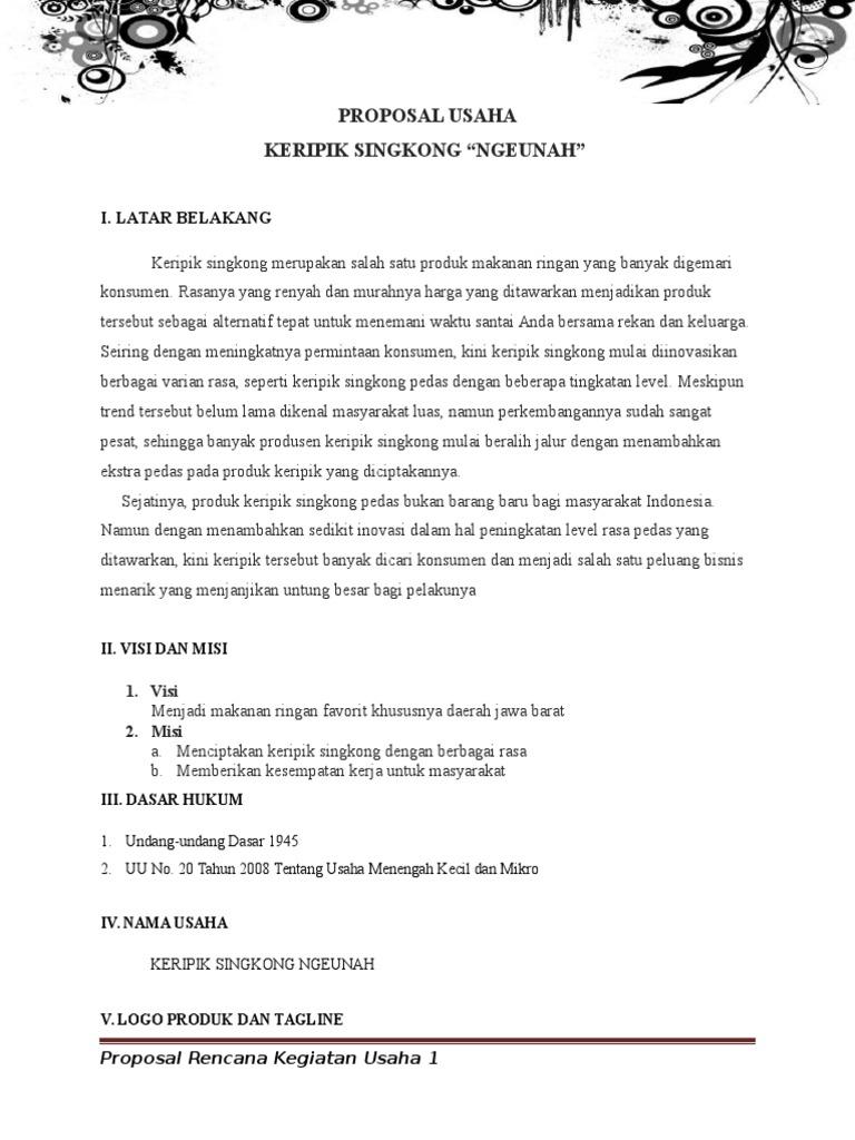 Contoh Proposal Usaha Makanan Ringan Keripik Berbagi Contoh Proposal