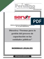 Nueva Directiva Para El Proceso de Capacitaciones en Las Entidades Publicas Del Servir