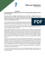 Note Aux Redactions Protocole Signé Avec La Société ECT JJB Expose La Position de La Majorité Départementale Aux Élus Seine-et-marnais