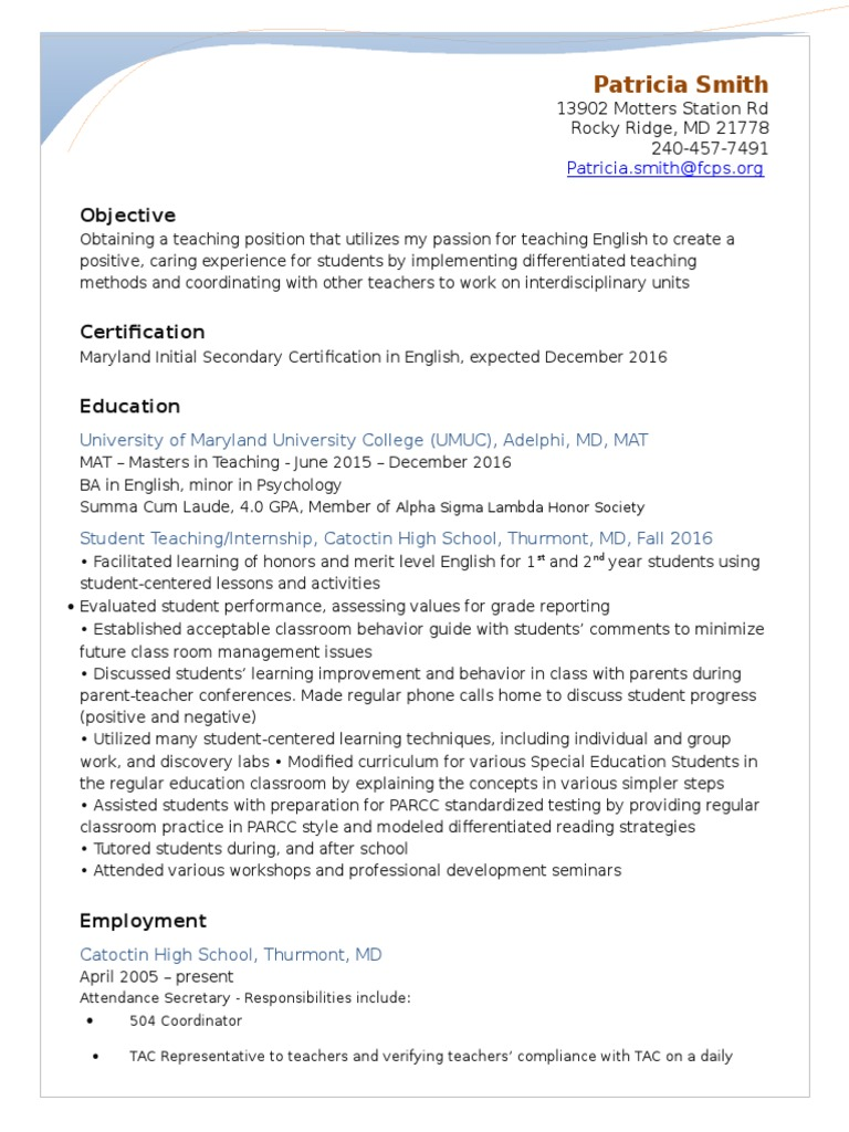 Patty resume 11 2016 differentiated instruction teachers 1betcityfo Images