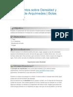 Experimentos Sobre Densidad y Principio de Arquímedes