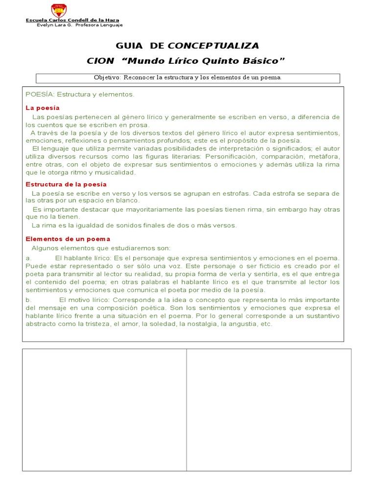 Guia Aprendizaje Lirico Quinto B 2016 08 De Ocubre Poesía