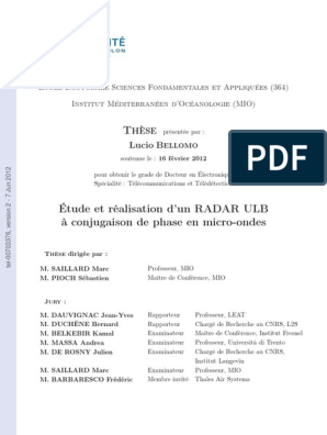 D Study And Realization Of An Uwb Microwave Radar Based On