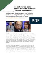 Boechat Se Solidariza Com Monica Iozzi e Desafia Ministro Do STF