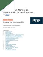 Ejemplo de Un Manual de Organización de Una Empresa