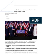 5 Cosas Que Cambiarán en El País Durante La Presidencia de Donald Trump