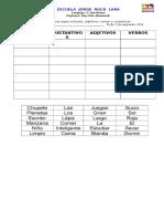 Guia Clasificacion de Sustantivos , Articulos, Adjetivos, Verbos