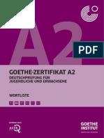 Goethe Zertifikat A2 Wortliste