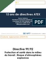 15 Ans de Directives ATEX
