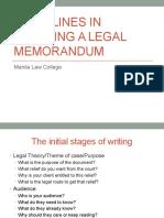 Guidelines in Drafting Legal Memo