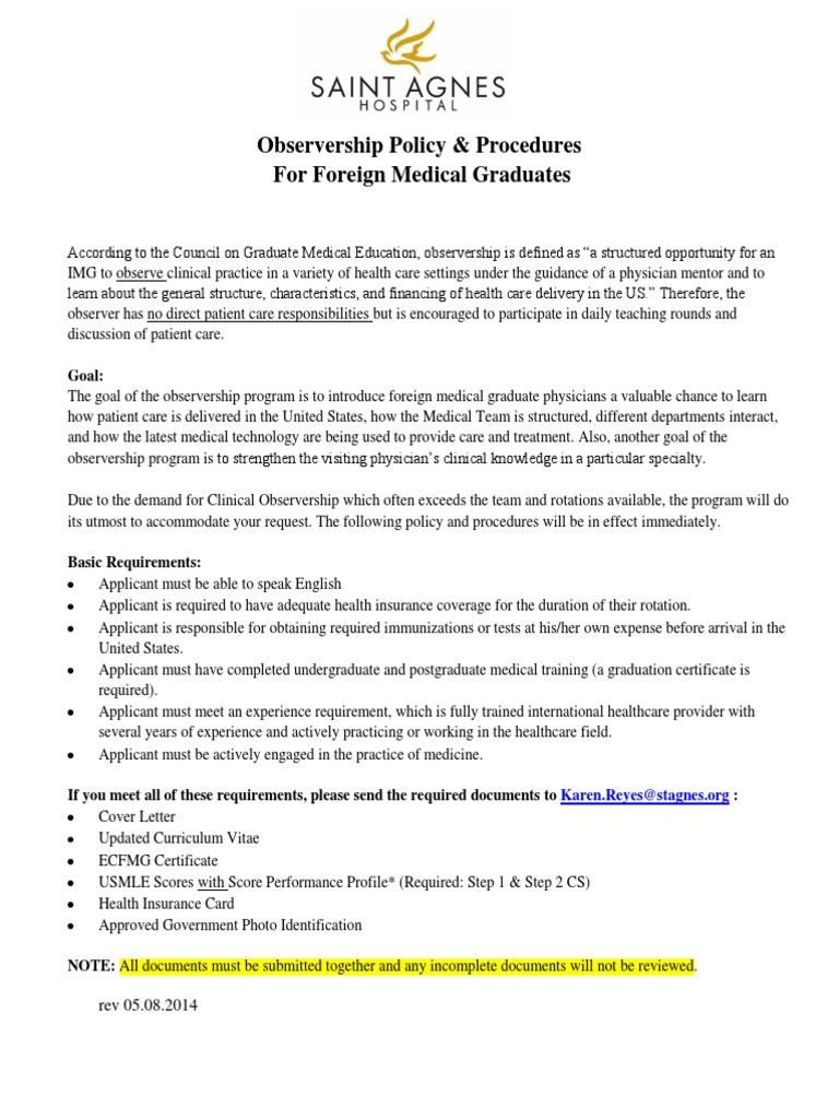 Observership Policy Saint Agnes Hospital | Medical Education