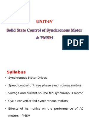 SOLID STATE CONTROL OF SYNCHRONOUS MOTOR & PMSM   Power