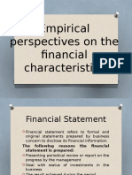 Emphirical Perspectives on the Financial Characterstics