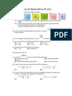 Ficha de Matemática 8º Ano