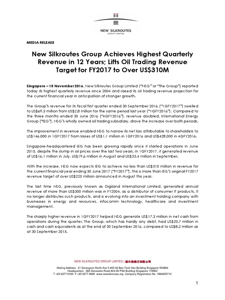 New Silkroutes Group Achieves Highest Quarterly Revenue in 12 Years