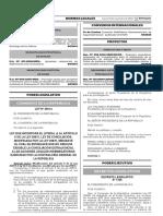 Ley que incorpora el literal j) al Artículo 9 de la Ley 26872 Ley de Conciliación modificada por la Ley 29876 mediante el cual se establece que no resulta exigible la conciliación extrajudicial a las acciones legales indemnizatorias ejercidas por la Contraloría General de la República