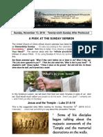 Pastor Bill Kren's Newsletter - November 13, 2016
