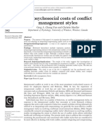 The Psychosocial Costs of Conflict Management Styles