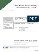 DTA 3-15-800 Cofraplus 60 Avis Limite Au 31-03-2022