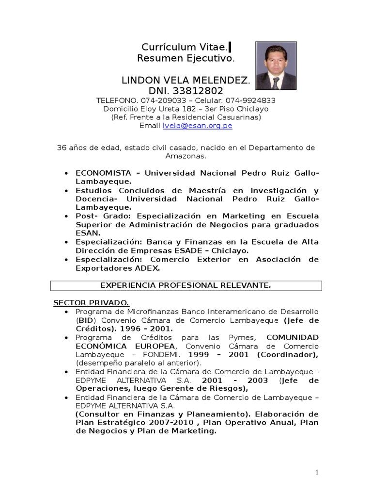 Vistoso Ejemplos De Curriculum Vitae De Negocios Fotos - Ejemplo De ...
