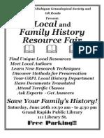 WMGS Local & Family History Fair Flyer
