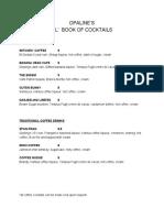 Opaline's Drink Menu, 11.10.16